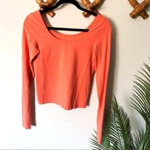 Free People   Coral Cropped Long Sleeve